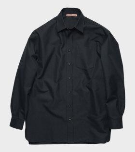 Cotton-Blend Twill Shirt Navy