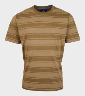 PS Logo Striped T-shirt Khaki/Brown