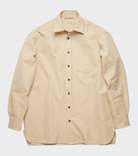 Cotton-Blend Twill Shirt Beige