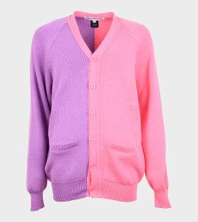 Contrast Cardigan Purple/Pink