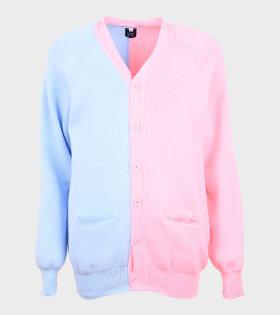 Contrast Cardigan Blue/Light Pink
