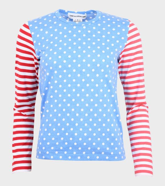 Comme des Garcons Girl - Ladies Stripes & Dots Blouse Blue/Red/Pink
