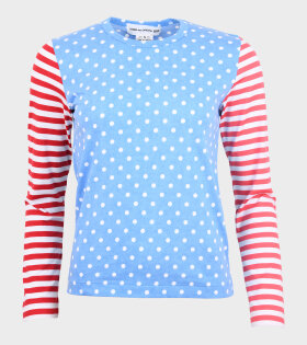 Ladies Stripes & Dots Blouse Blue/Red/Pink