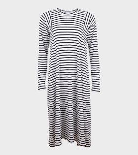 Ladies L/S Striped Dress White/Black