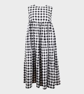 Ladies Check Seersucker Dress Black/White