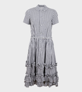 Ladies Long Check Ruffle Dress Black/White