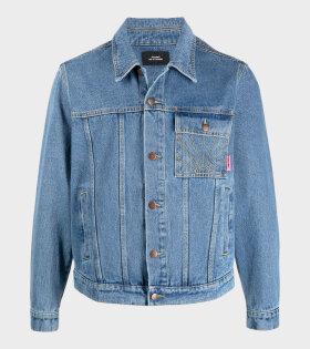 Denim Jacket Embroidered Logo Blue