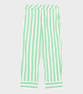 Ganni - Stripe Cotton Pants Kelly Green
