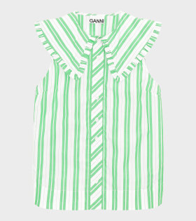 Ganni - Stripe Cotton Top Kelly Green