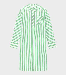Ganni - Stripe Cotton Dress Kelly Green