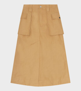 Ganni - Cotton Canvas Skirt Brown