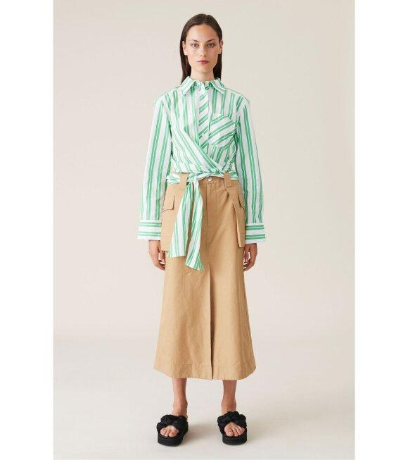Ganni - Cotton Canvas Skirt Brown
