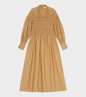 Ganni - Cotton Canvas Dress Brown