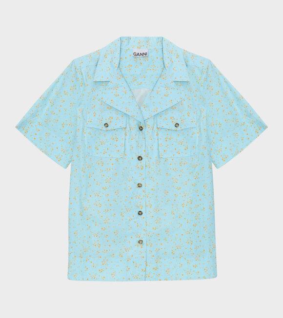 Ganni - Printed Cotton Poplin S/S Shirt Blue