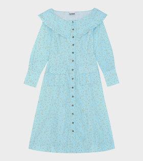 Ganni - Printed Cotton Poplin Long Dress Blue