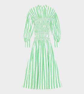 Ganni - Stripe Cotton Long Dress Kelly Green