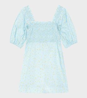 Ganni - Printed Cotton Poplin Dress Blue