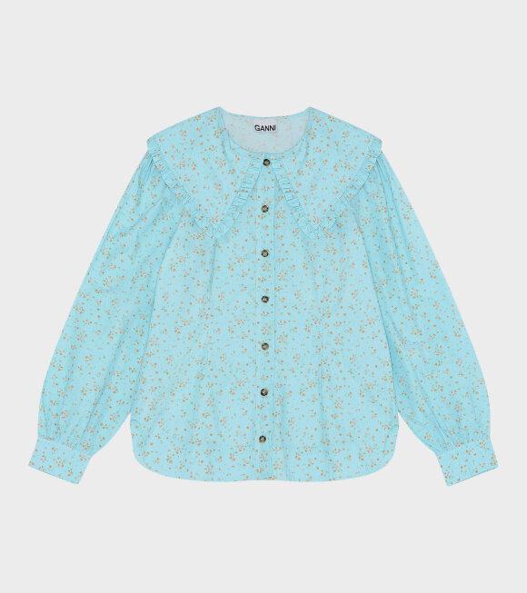 Ganni - Printed Cotton Poplin Shirt Blue