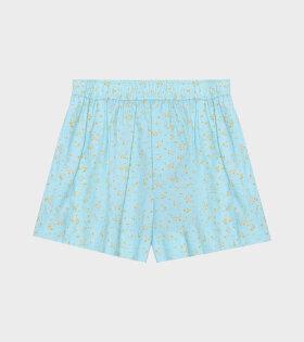 Ganni - Printed Cotton Poplin Shorts Blue