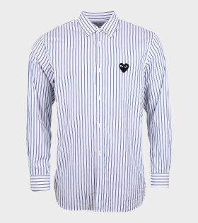 M Black Heart Striped Shirt White/Blue
