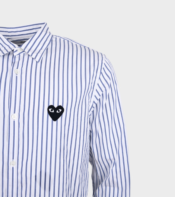 Comme des Garcons PLAY - M Black Heart Striped Shirt White/Blue