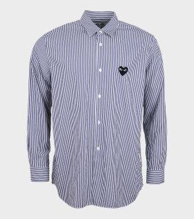 M Black Heart Striped Shirt Navy/White