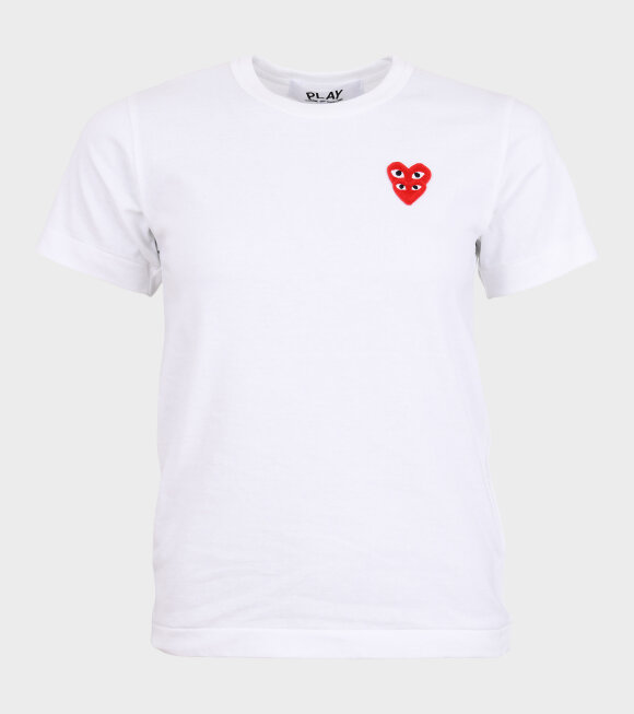 Comme des Garcons PLAY - W Double Heart T-shirt White