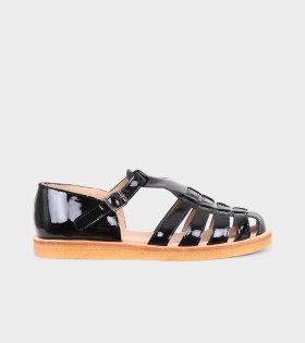 Closed Toe Sandals Shiny Black