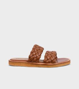 Braided Sandals Cognac Brown