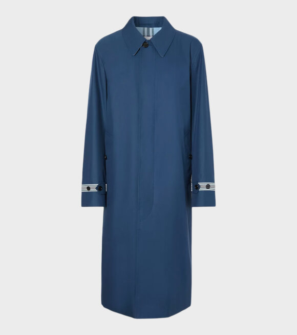 Burberry - Knitted Stripe Detail Technical Cotton Car Coat Ink Blue