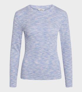 Mads Nørgaard  - Tuba LS T-shirt Blue/Pink Mouline