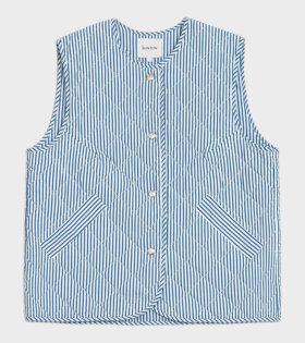 Quilt Vest Stripe White/Blue
