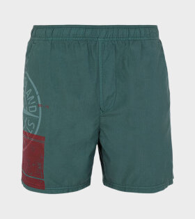 Stone Island - Logo Print Swim Shorts Green