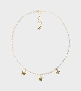 Wilhelmina Garcia - Three Charm Pearl Necklace White