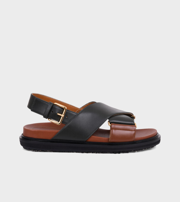 Marni - Fussbett Sandal Green/Brown