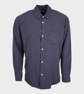 Initial Shirt Vintage Blue Fine Silk