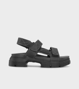 Ganni - Velcro Sandals Black