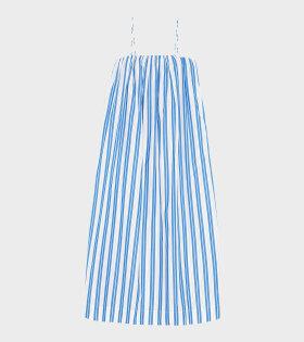 Ganni - Midi Dress Stripe Cotton Blue/White