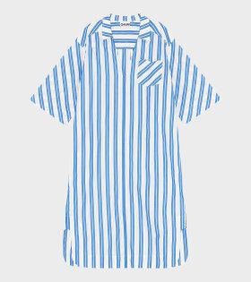 Ganni - Oversized Midi Dress Stripe Cotton Blue/White