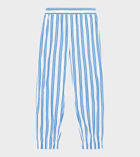 Ganni - Pants Stripe Cotton Blue/White