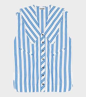 Ganni - Tunika Shirt Stripe Cotton Blue/White