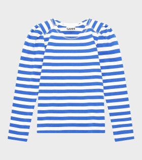 Ganni - LS T-shirt Stripe Cotton Jersey Blue/White