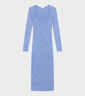Ganni - Long Dress Melange Knit Blue