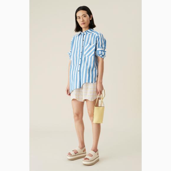 Ganni - Shirt Stripe Cotton Blue/White