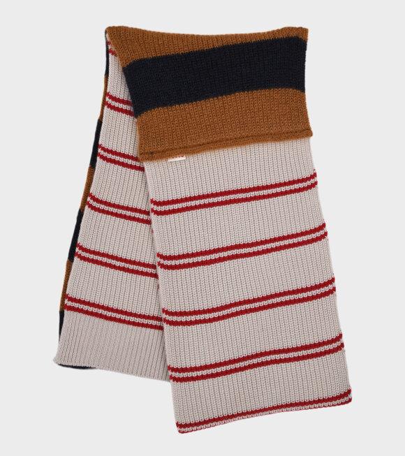 Marni - Contrasting Striped Scarf Red Multi