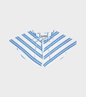 Ganni - Stripe Cotton Collar Blue/White