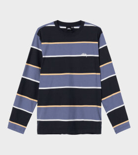 Stüssy - Bold Stripe LS Crew Black