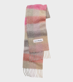 Acne Studios - Large Check Scarf Pink
