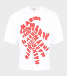 Marni - Red Logo Print T-shirt White