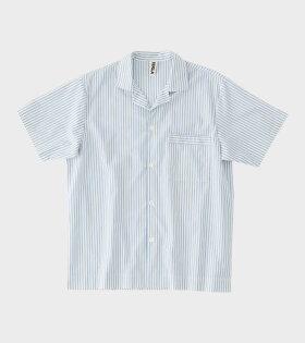 Tekla - Pyjamas S/S Shirt Blue Stripes